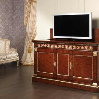 Mahogany TV holder with elevator, brass decorations and gold leaf details. Classic luxury collection Ermitage Impero style