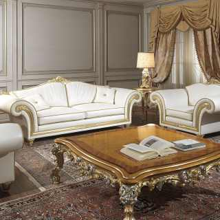 Classic living room Imperial collection with carved two seater sofa and armchairs, white leather finish
