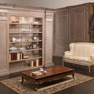 Classic bookcase unit with five shelves, carved columns and capitals, gold decorations