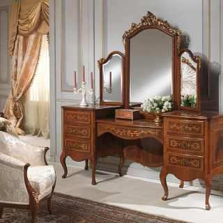 Dressing table with mirror, walnut antique finish, classic bedroom collection Louvre