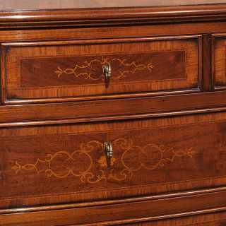 Classic inlayed chest of drawers, walnut finish