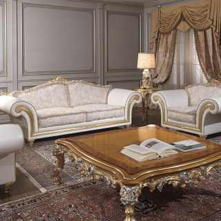 Classic living room Imperial with sofa and armchairs made of leather and fabric, carved table gold and silver leaf finish