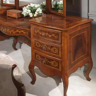 Classic bedroom collection Louvre: walnut antique finish dressing table with mirror