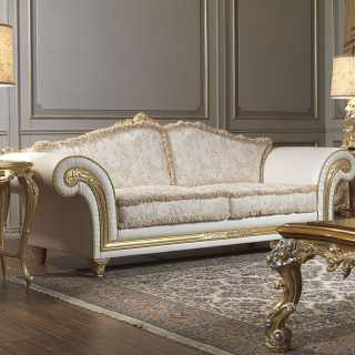 Classic two seater sofa leather and fabric finish, carved and golden details and cymatium