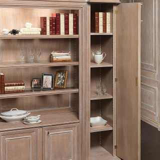 Classic bookcase unit for modular wall, columns with shelves