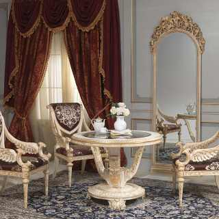 Round table with chairs and wall mirror: all Luigi XVI style. Handmade carvings, white over gold finish. Classic luxury furniture collection White and Gold
