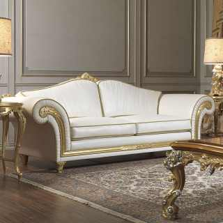 Classic two seater sofa white leather finish