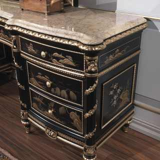 China black lacquered chest of drawers with mirror, Luigi XV style, gold leaf details, marble top