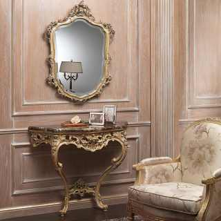 Console and wall mirror on classic boiserie