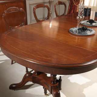 Classic walnut table extensible till cm 255 with 4 extensions, detail