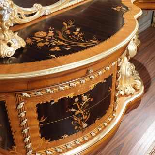 Toilette barocca intarsiata, camera da letto in stile barocco romano del Seicento art. 2012