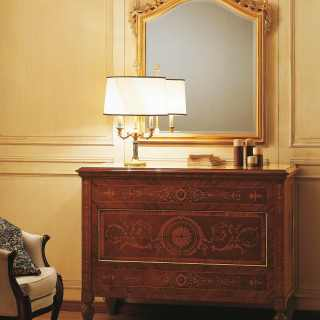 camera classica lusso maggiolini, comò legno noce palissandro, comò intarsiato, specchiera oro foglia, specchiera intagliata, mobili classici lusso