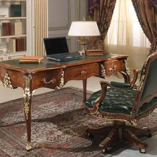 Classic Luigi XV style desk and armchair, walnut antique finish, gold leaf details and handmade carvings
