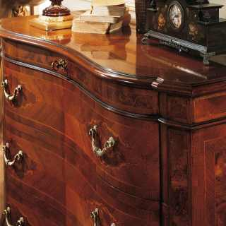 Classic chest of drawers, antique finish, walnut wood, handmade in Italy