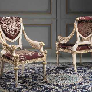 Luigi XVI style carved chairs, white over gold finish. Classic luxury furniture White and Gold