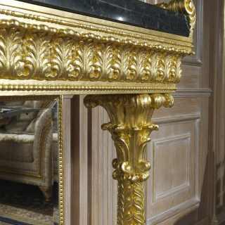 Consolle classica in marmo e legno