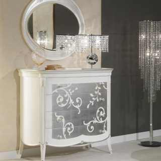 Comò e specchio in stile Decò, made in Italy, produzione artigianale