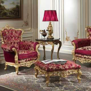 Poltrona barocca della collezione classica di lusso Salotto Barocco, intagliata e dorata a mano