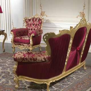 Divano barocco di lusso intagliato e dorato della collezione Salotto Barocco