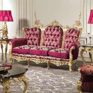 Divano barocco intagliato della collezione classica di lusso Salotto Barocco