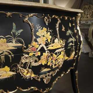Comò Luigi XV in stile cinese, collezione chinoiserie