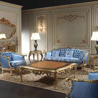 Salotto made in Italy Settecento, realizzato e intagliato a mano in Italia, ispirato a regge e palazzi del 700