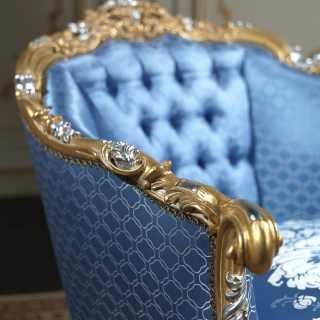 Poltrona classica di lusso della collezione classica Salotto Settecento, intagliata e dorata a mano