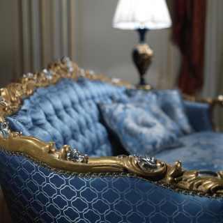 Divano classico di lusso intagliato e dorato, collezione classica Salotto Settecento