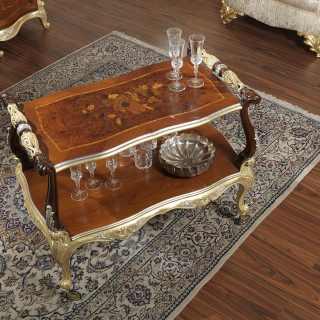 Tavolino classico da sala con ruote