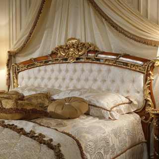 Letto classico con testata in noce della collezione classica di lusso per la zona notte Luigi XVI Noce e Intarsi
