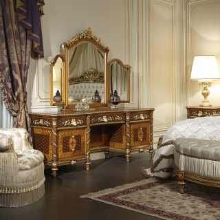 Toilette e specchio in noce in stile classico per la collezione Luigi XVI Noce e Intarsi