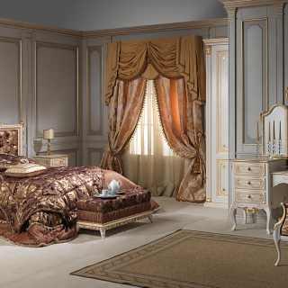 Camera barocco francese della collezione art.2018, con intagli e decorazioni eseguiti a mano