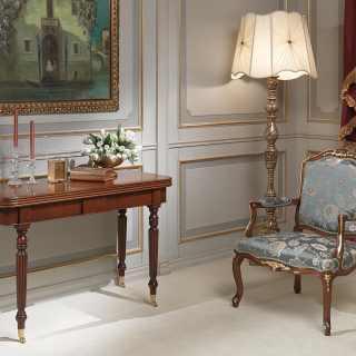 Consolle allungabile classica in legno di noce, prolunghe fino a 260 cm di lunghezza per l'utilizzo come tavolo da pranzo