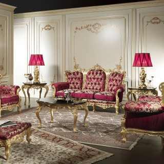 Salotto Barocco classico di lusso con intagli e dorature eseguiti a mano