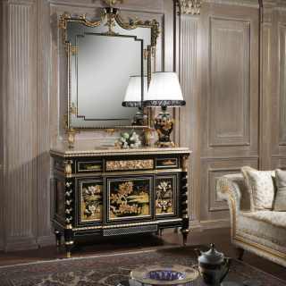 Comò classico di lusso con specchiera della collezione Chinoiserie