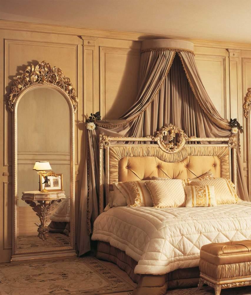 Camera da letto classica Louvre, letto, specchiere con comodini integrati