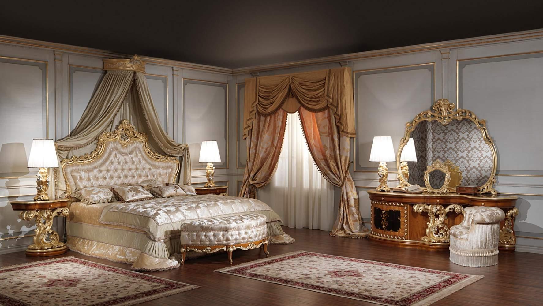 luxury classic bedroom Roman baroque style | Vimercati Meda