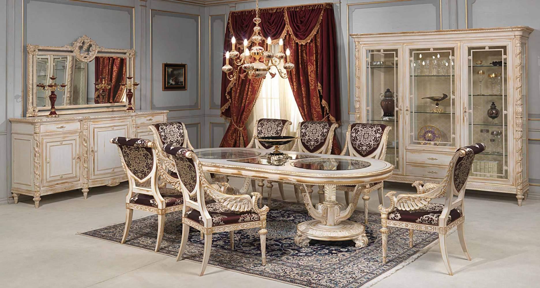 Mobili Della Sala Da Pranzo : Sala da pranzo white and gold in stile luigi xvi vimercati meda