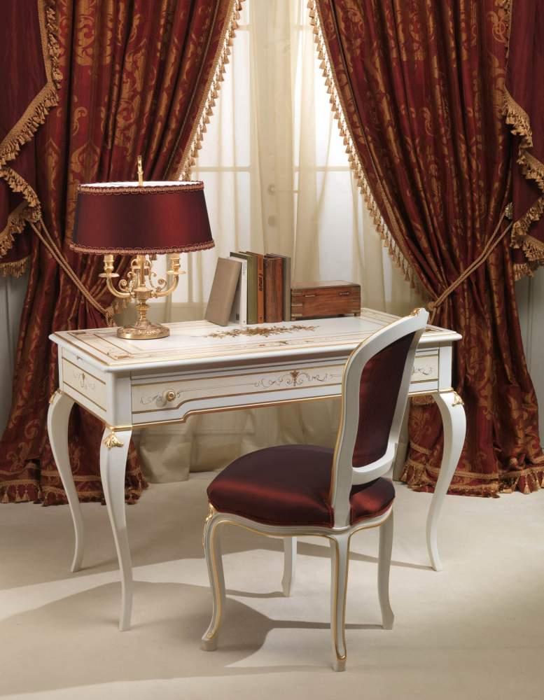 Camera da letto classica Rubens in stile 700 francese, scrittoio e sedia
