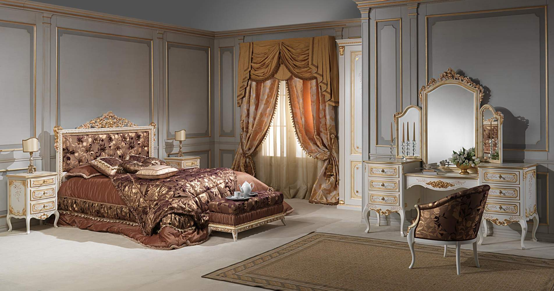 Camera da letto classica Louvre, arredo completo