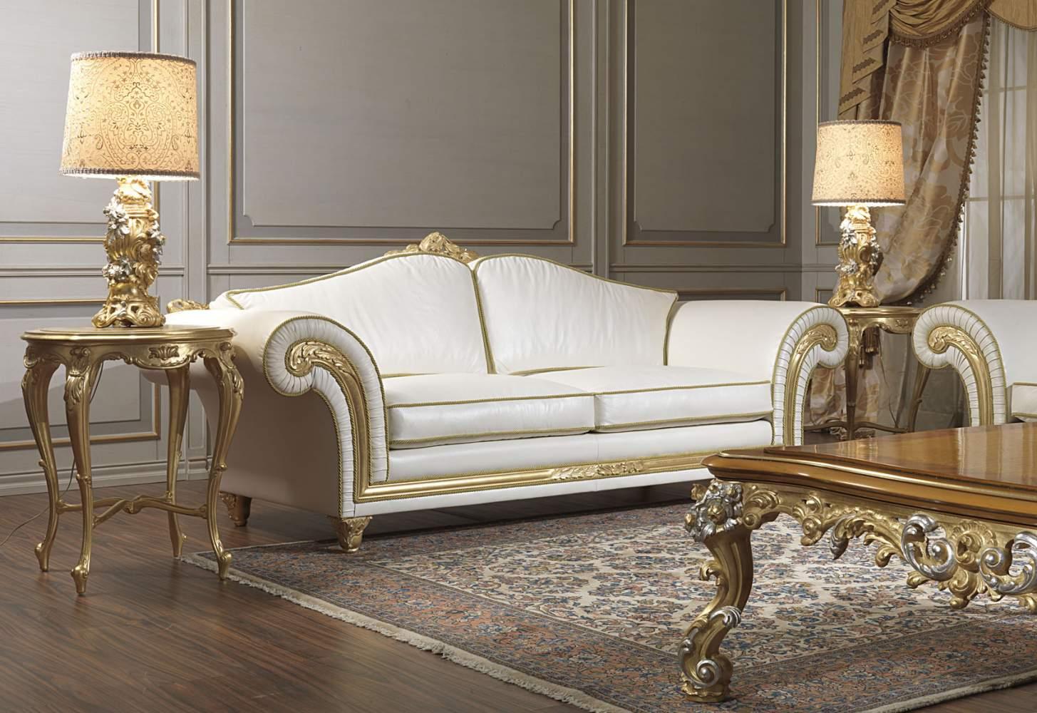 Divano classico imperial in pelle bianca vimercati meda - Divano classico in pelle ...