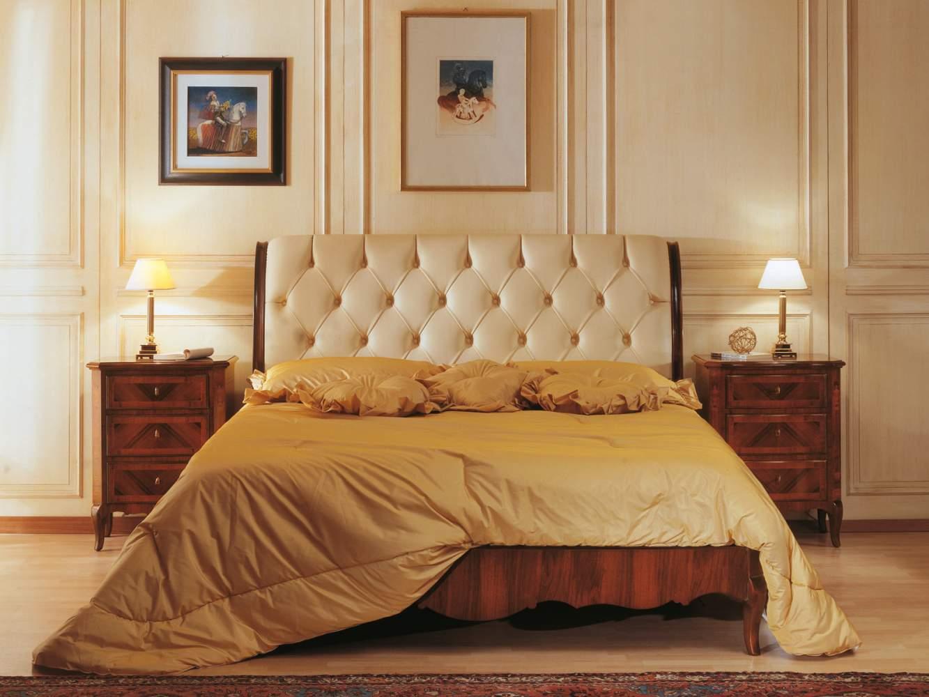Camera da letto classica di lusso 800 francese, letto in pelle capitonné