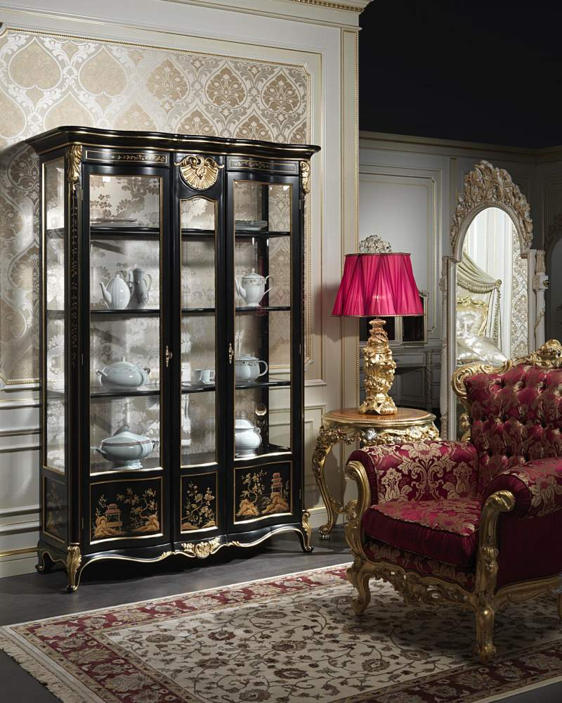 Vetrina classica di lusso in stile classico cinese Luigi XV della collezione Chinoiserie